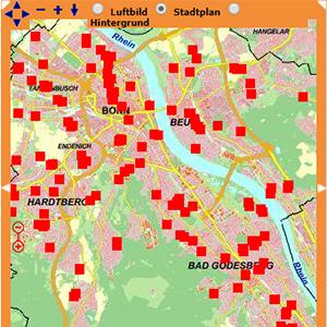Bonn, map of sport facilities